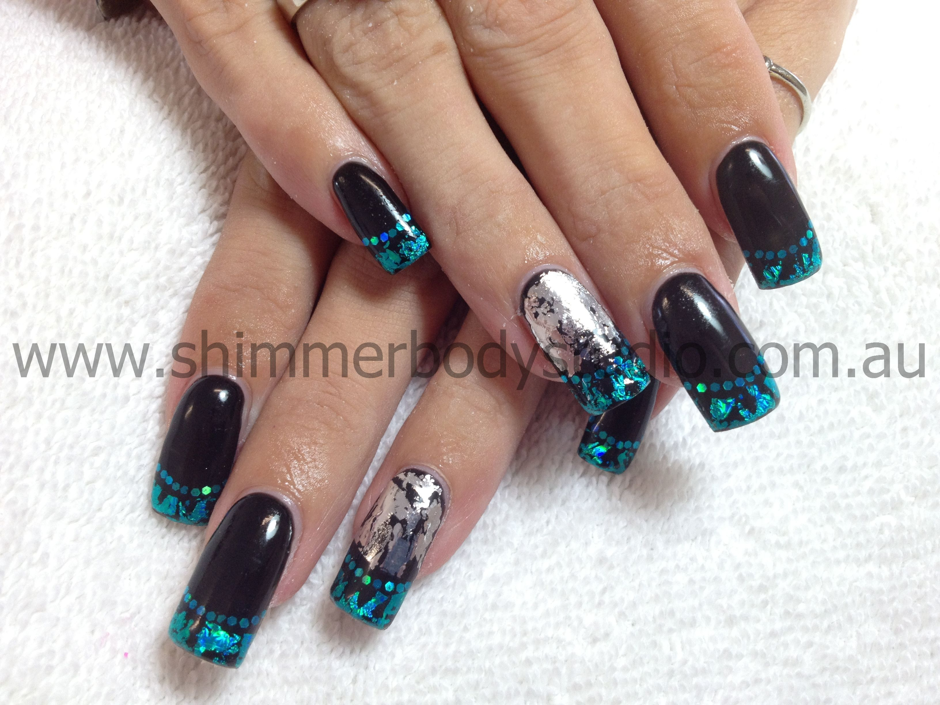 Gel nails black nails colour nails foil nail art nails full colour pinterest foil - Foil nail art ...