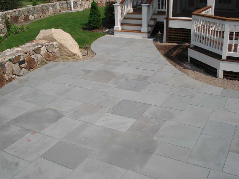 Blue Select Thermal Bluestone Patio Pavers With Cut Curved Edge.