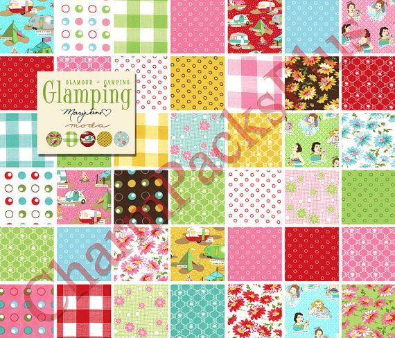 GLAMPING - Moda Fabric Charm Pack - Five Inch Quilt Squares ... : material quilting - Adamdwight.com