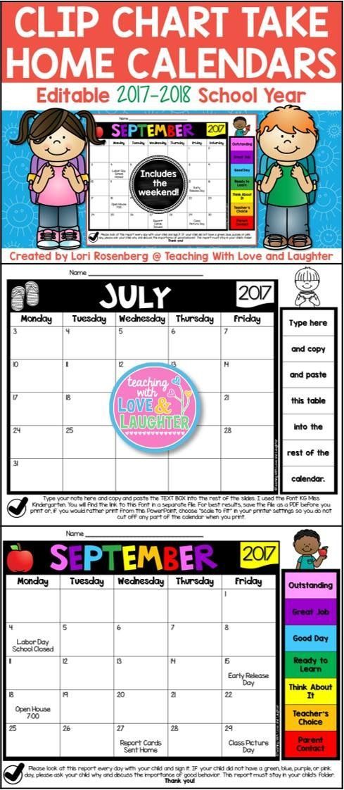 Editable Clip Chart Behavior Calendars For The 2017 2018 School Year