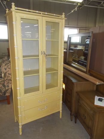 Lt Yellow Bamboo Style Desk With Hutch | Curios U0026 Bookcases   GRQ Used  Furniture