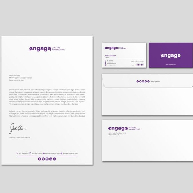 Engage Digital Marketing Business Card And Letterhead By Design
