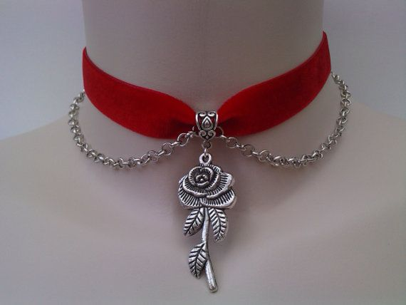 Rose Charm Chain Velvet Red Ribbon Choker By Twirlytrinkets 3 99