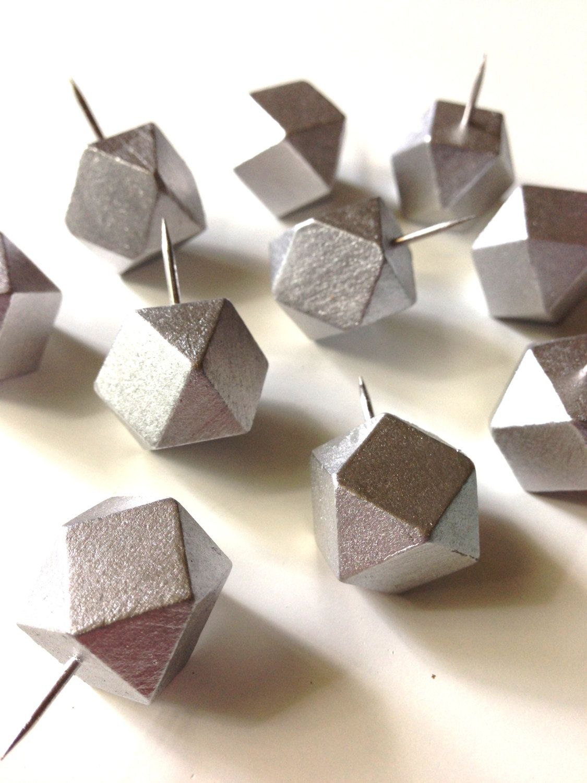 silver geometric push pins modern decor modern office supplies