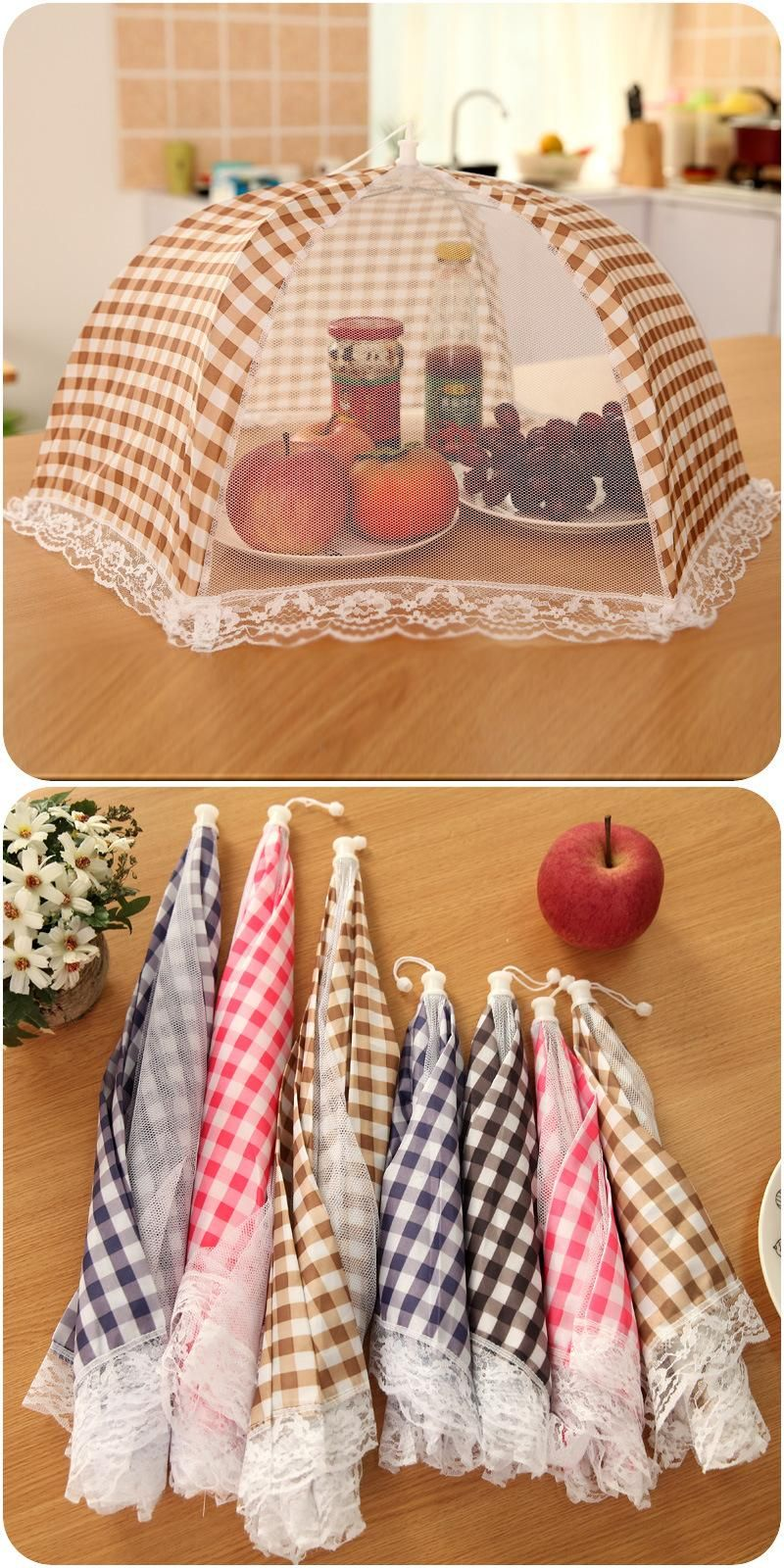 [Visit to Buy] High Quality Large Umbrella Collapsible Anti Fly Mosquito Lace Mesh Kitchen Outdoor Picnic Meal Fruit Food Covers Random Color #Advertisement #largeumbrella