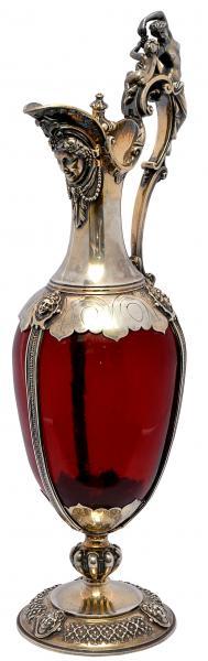 Licoreira de prata inglesa vitoriano, contraste de Londres - 1852. Cinzelado com guirlandas e realça