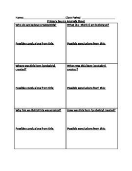 Primary Source Analysis Worksheet 5 W S And An H Primary