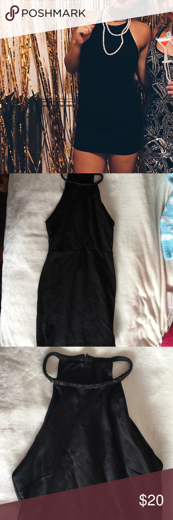 Barely worn forever tight black dress w jewels st dresses
