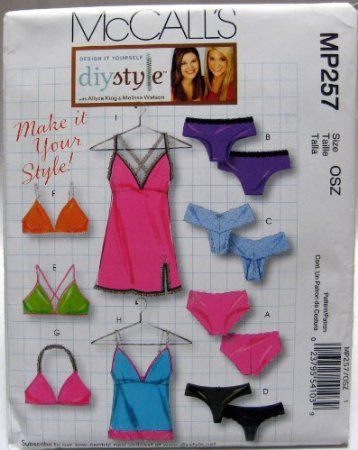 Amazon.com: McCall's Sewing Pattern M5651 Misses' Lingerie: Bra, Panties, Camisole and Slip Sizes XS through L: Arts, Crafts & Sewing