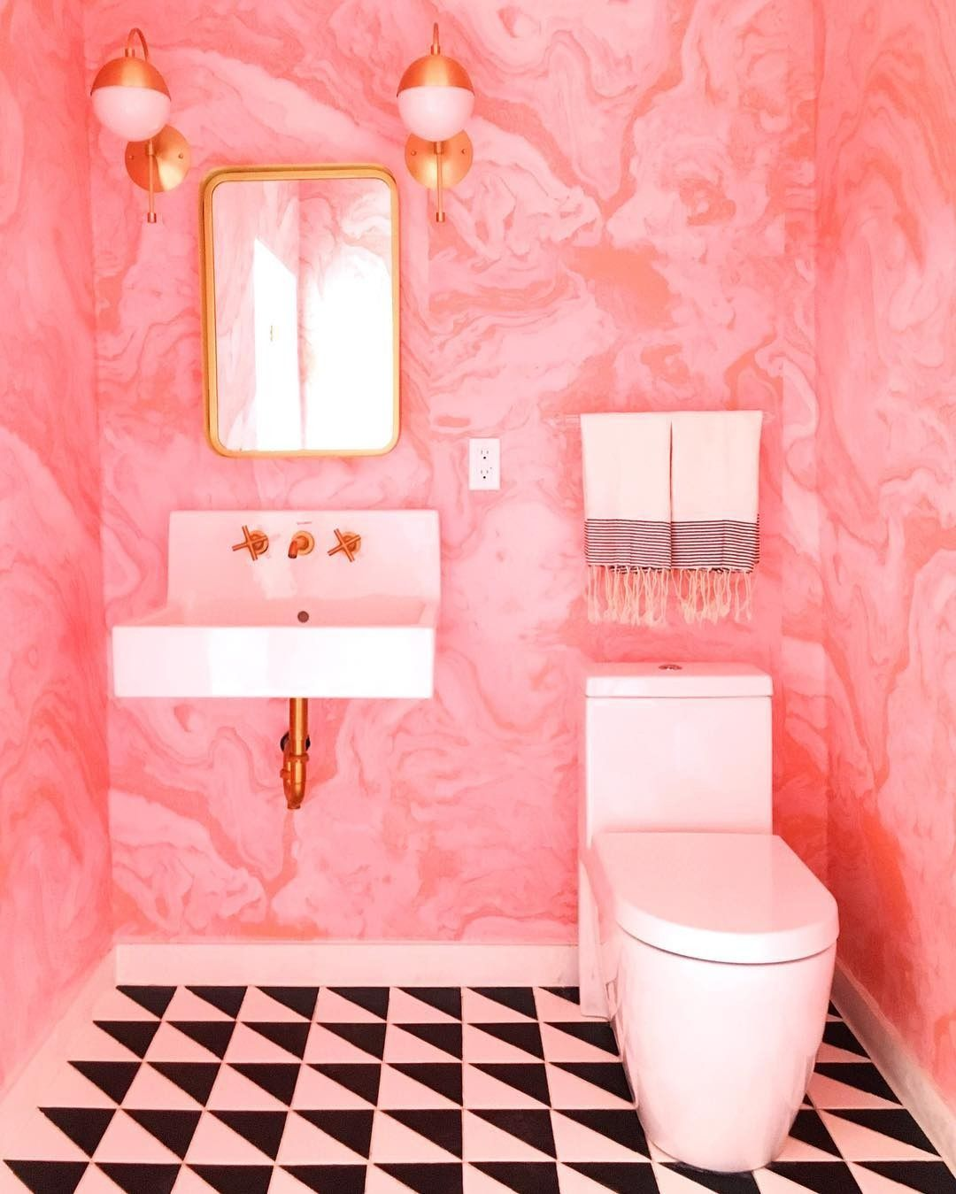 Black white and pink bathroom - Cedar Moss Sconce Design Bathroombathroom Pinkeclectic