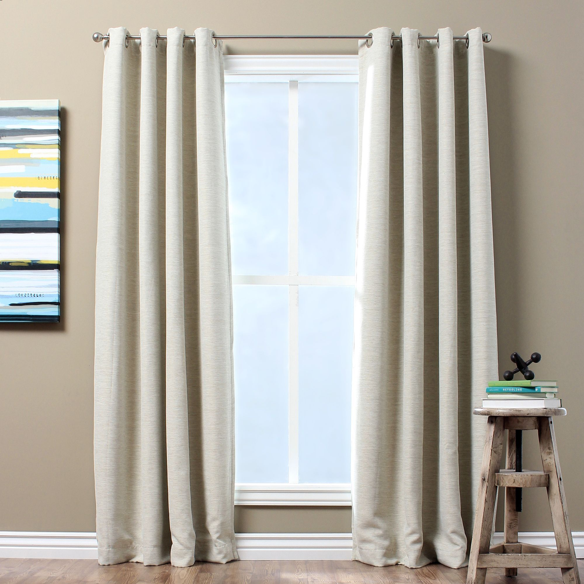 Solid Textured Insulated Thermal Blackout Curtain Panel Panel