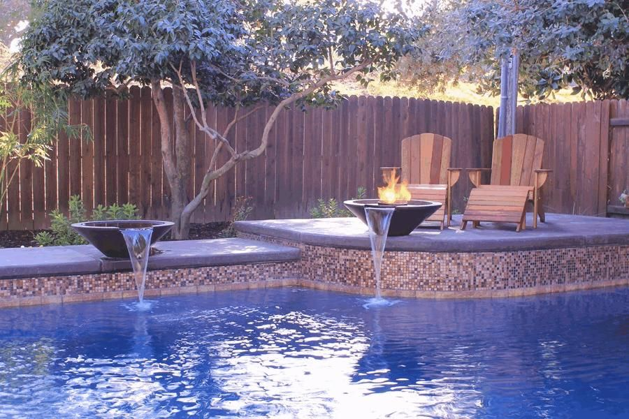 Image Result For Fire Pit Ideas By Pool With Images Pool Water Features Swimming Pool Tiles Backyard