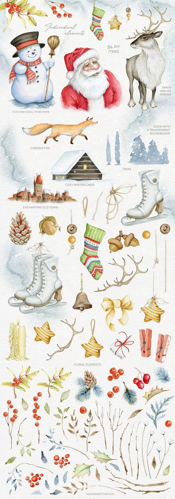Photo of Magical winter watercolors. SALE by Eva-Katerina on Creative Market #christmas #ar …