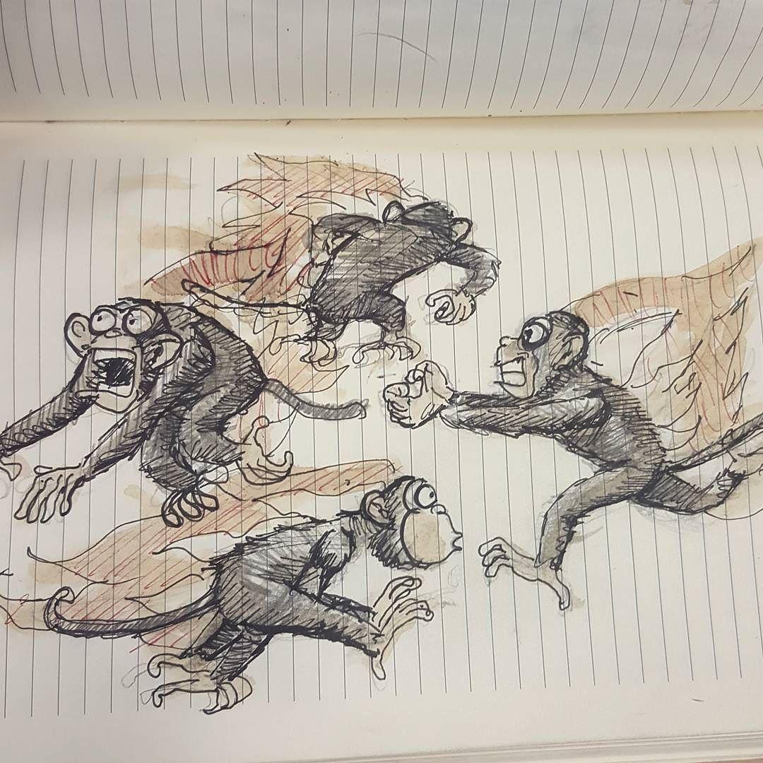 Coffeepenpencil #sketchbook #sketch #mariasketchbook #monkey #monkeys #drawing #quickdrawing #quicksketch #flamingmonkeys  Flaming monkeys by pablovilla
