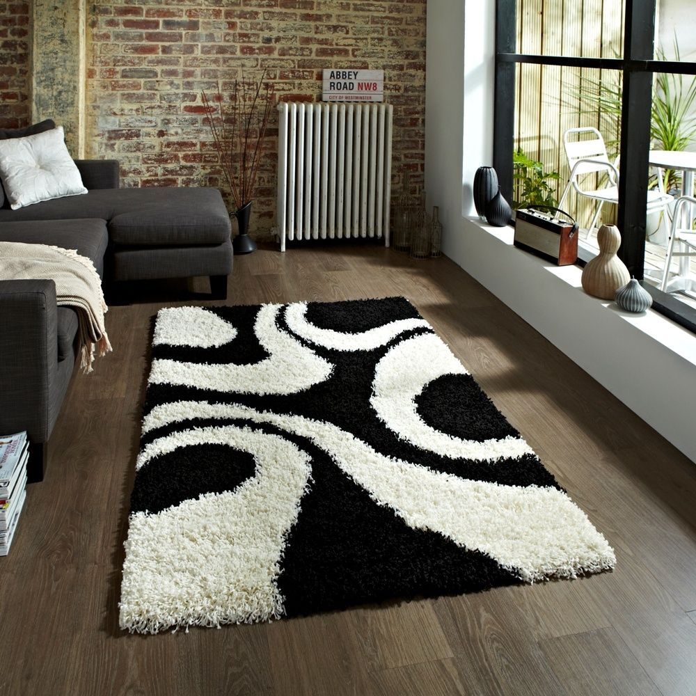 Perfect Vista Shaggy Rug   Black/White 4263   From Rugshop UK Gallery