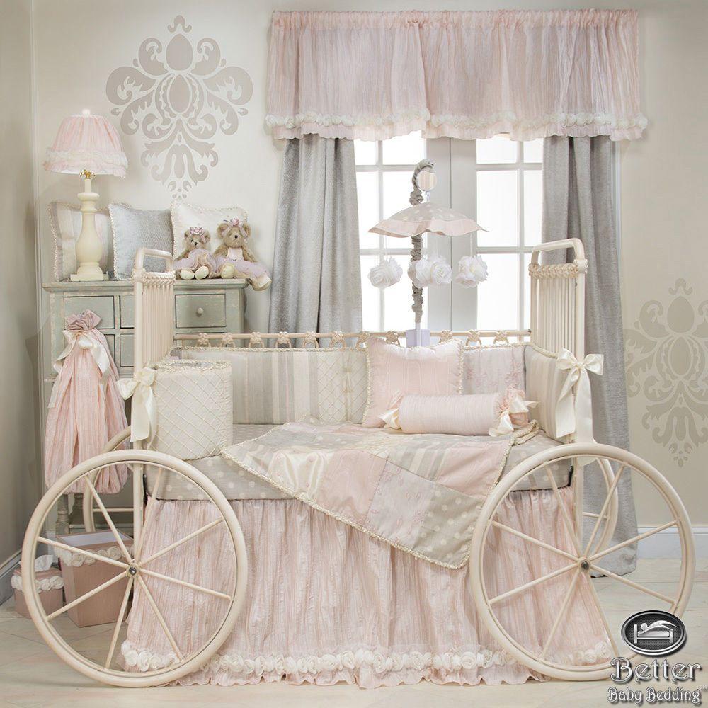 Baby Girl Pink Gray Shabby Chic Luxury Designer Crib