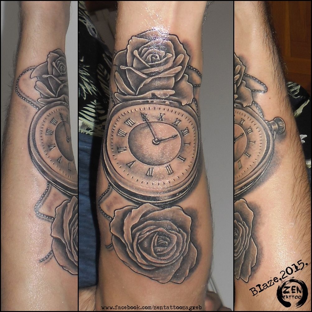 roses with clock tattoo by blaze tattoo by blaze pinterest. Black Bedroom Furniture Sets. Home Design Ideas