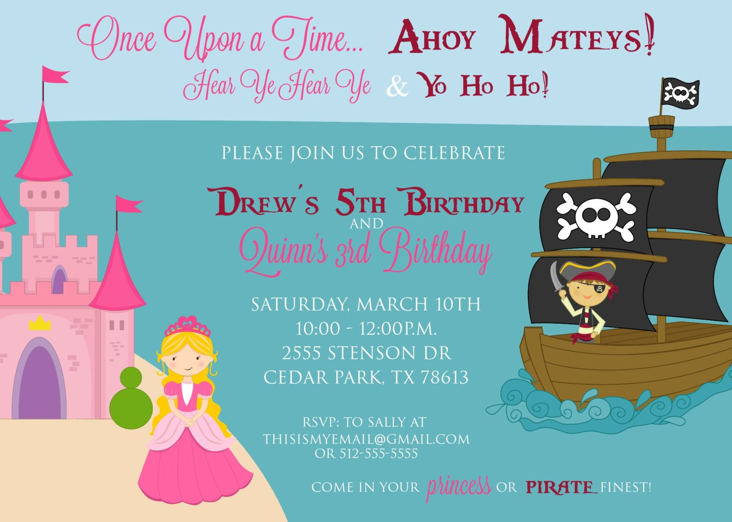 Princess and Pirate Joint Birthday Party Invitation Custom – Pirates and Princess Party Invitations