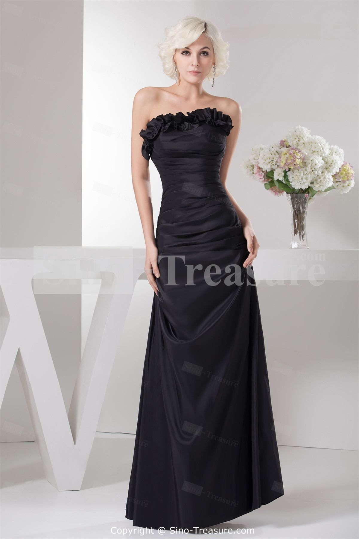 4e0401ccea Black Floor-Length Sleeveless Satin Ruffles Floor-length Bridesmaid Dress