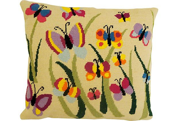 Butterfly Party Needlepoint Pillow on OneKingsLane.com