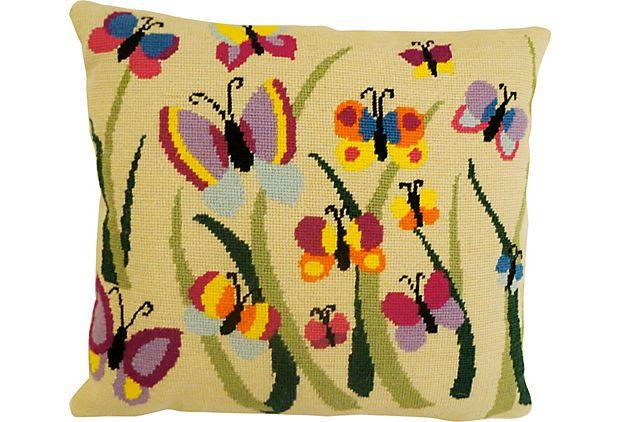 Butterfly Party Needlepoint Pillow on OneKingsLane.com