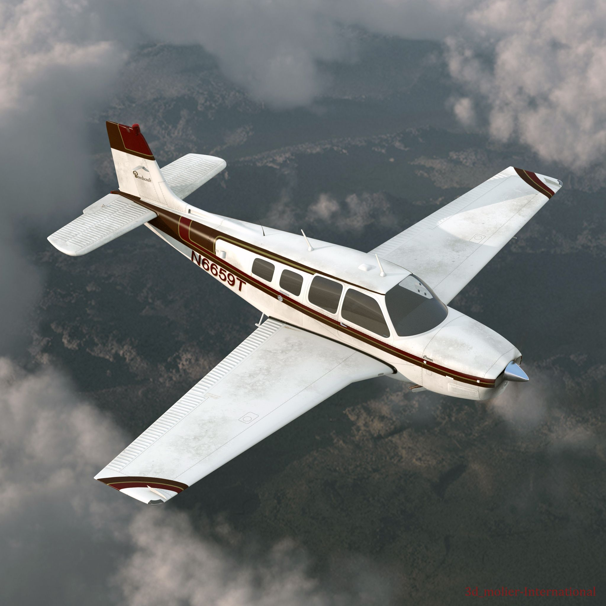 3d model of Beechcraft Bonanza Rigged http//www