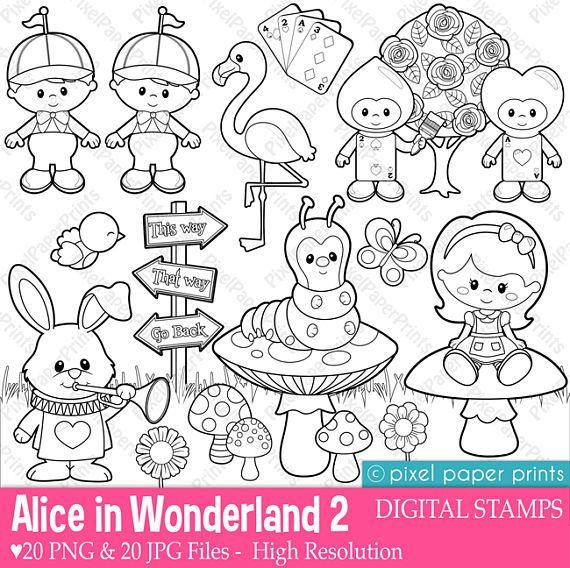 Alice in Wonderland Part 2 - Digital Stamps - Clipart | Dibujo ...