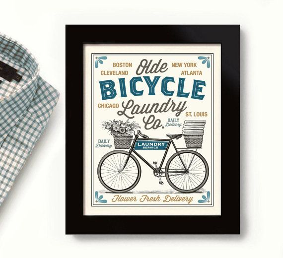 Old Bicycle Laundry Room Decor Vintage Bicycle Art City Names