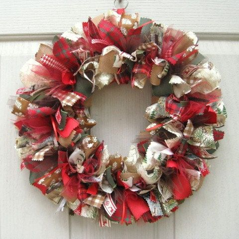Christmas Door Wreaths - Holiday Wreath - Christmas Wreath - Fabric Wreath  - Ribbon Wreath -