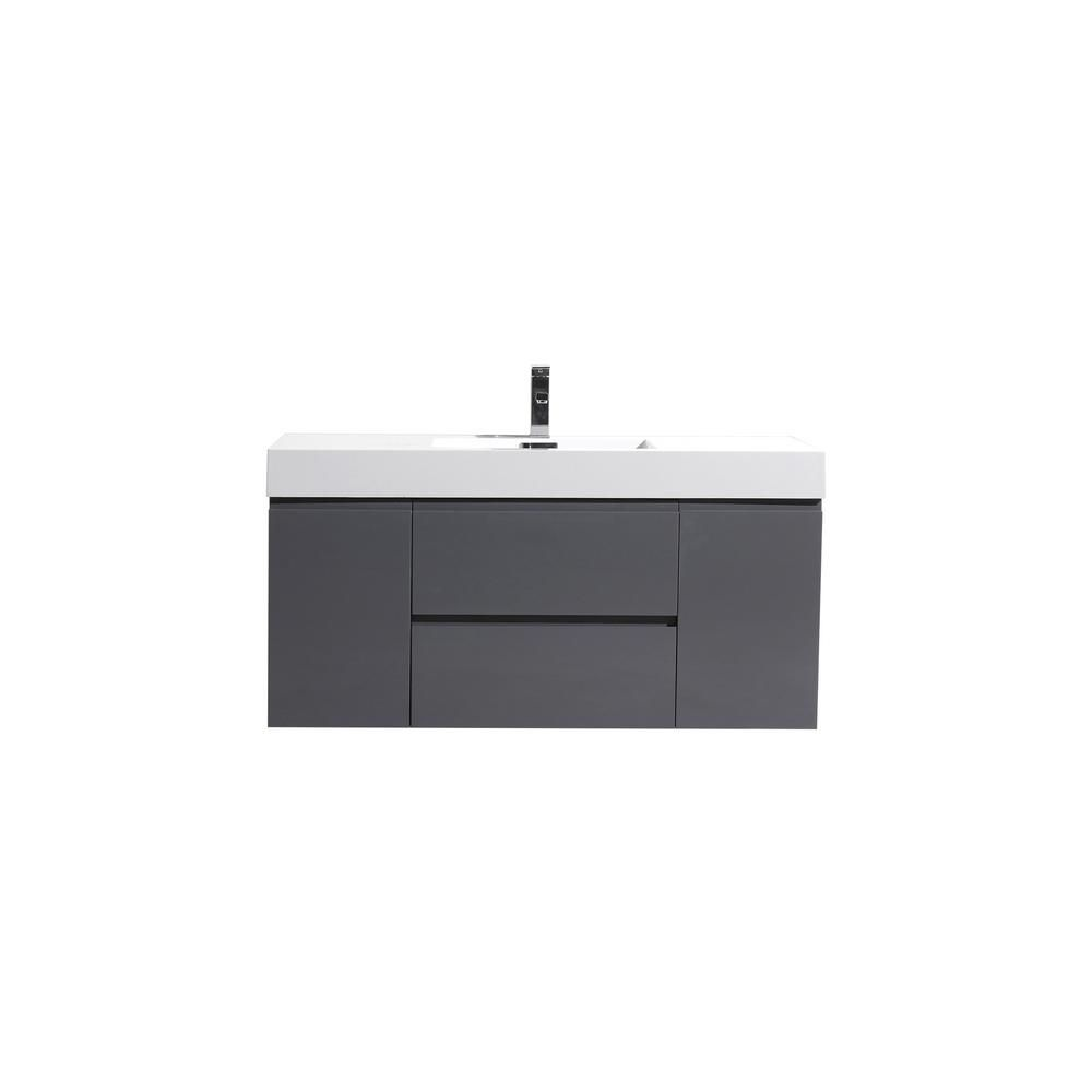 Fortune 48 In W Bath Vanity In High Gloss Gray With Reinforced Acrylic Vanity Top In White With White Basin Mof48 Gr Bath Vanities Modern Bathroom Cabinets Single Sink Vanity
