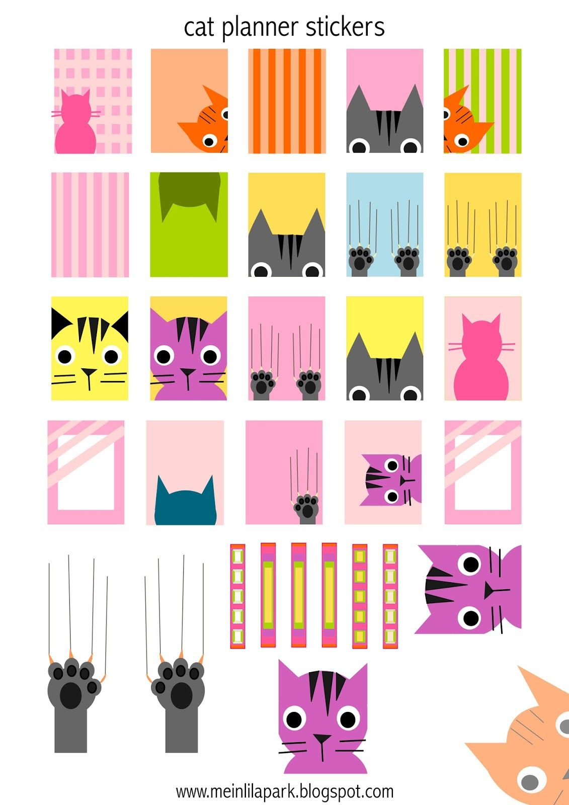 graphic about Printable Stickers Free referred to as Free of charge printable cat planner stickers - Agendasticker