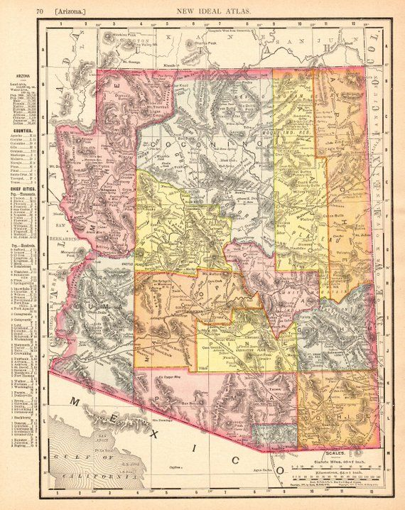 1909 Antique ARIZONA State Map Vintage Map of Arizona Gallery Wall ...