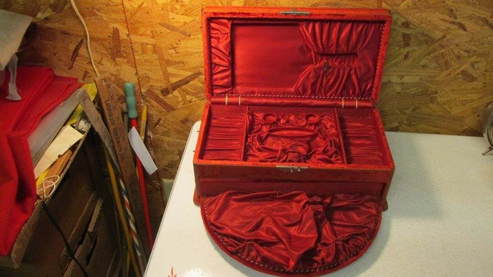 Antique Victorian Velvet Covered Dresser Set Box #unmarked