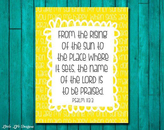 Psalm 113 3 You Are My Sunshine Wall Art Christian Wall