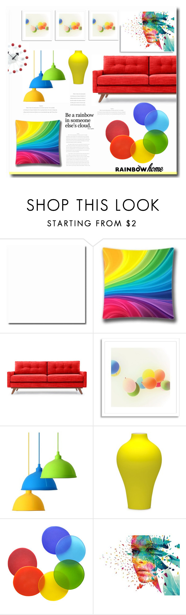 """Rainbow"" by jana-masarovicova ❤ liked on Polyvore featuring interior, interiors, interior design, home, home decor, interior decorating, Thrive, West Elm, Art Lavie and Tina Frey Designs"