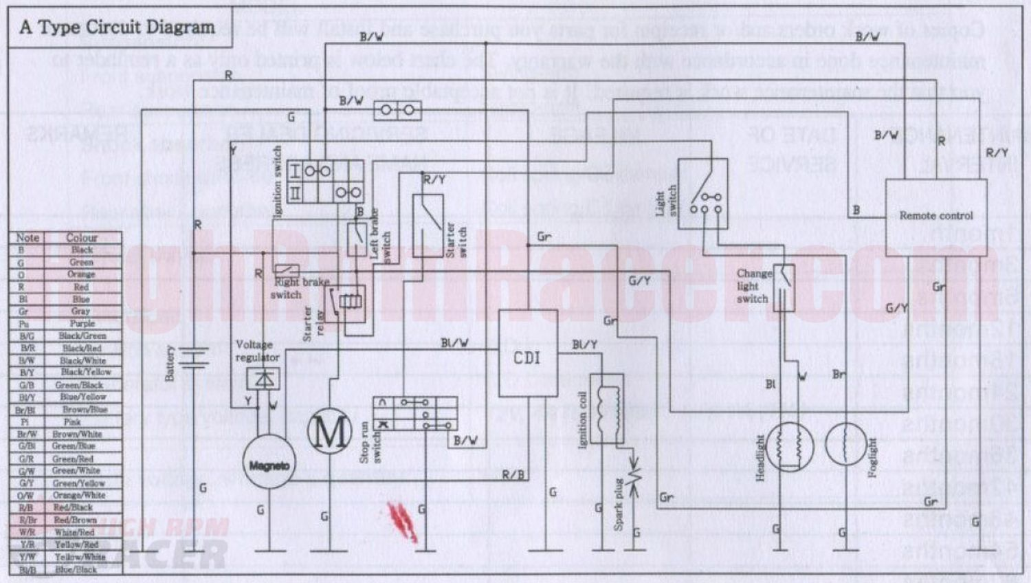 BuYang ATV 40 Wiring Diagram
