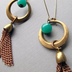 """Jadite Tassel Hoops now featured on Fab. Glamourpuss Creations  Vivid, Vintage-Inspired Jewelry    The mantra of Glamourpuss Creations is """"modern fare with vintage flair,"""" and Lisa O'Neill's bold, funky earrings and necklaces don't disappoint. From delicious-looking butterscotch beads to 1970s love knots (a design that actually dates back to Ancient Rome), these ageless, edgy pieces are anything but traditional."""