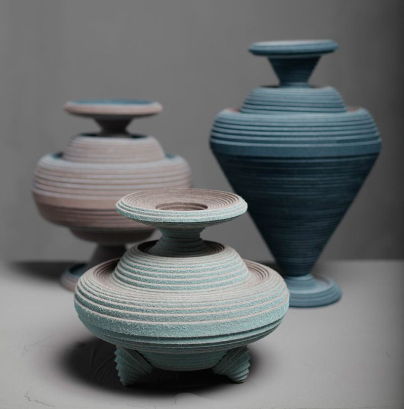 vessels made from felt coiled on a potter's wheel by siba sahabi - designboom | architecture