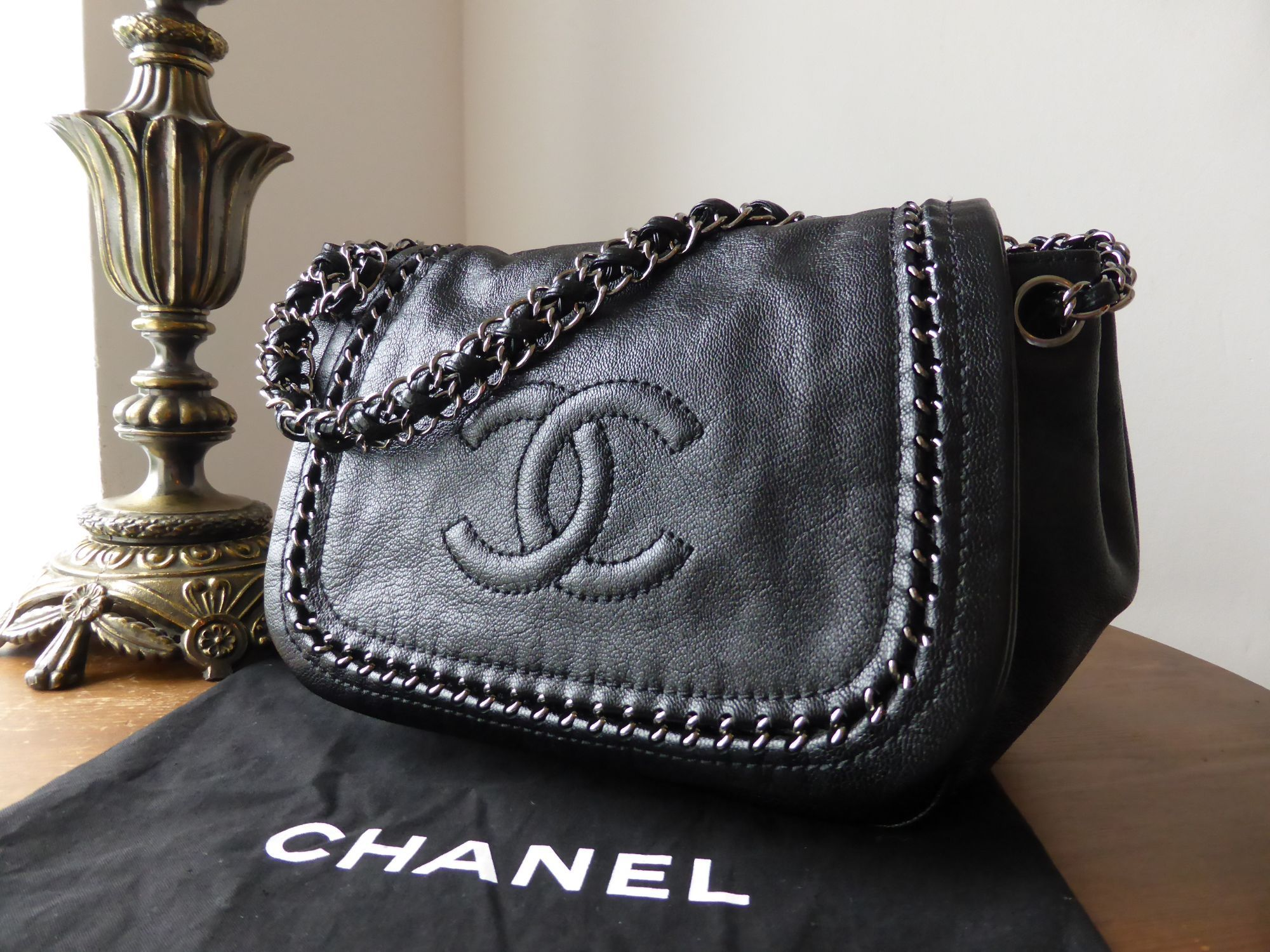 49dd8bf660d9 Chanel Luxe Ligne Flap Bag in Metallic Black Goatskin  gt  https   www