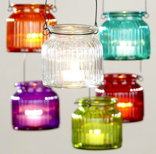 Hanging Glass Tealight Jars from World Market