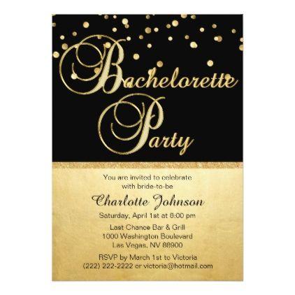 bachelorette party invitations Unique Glitter Gold Black – Unique Bachelorette Party Invitations