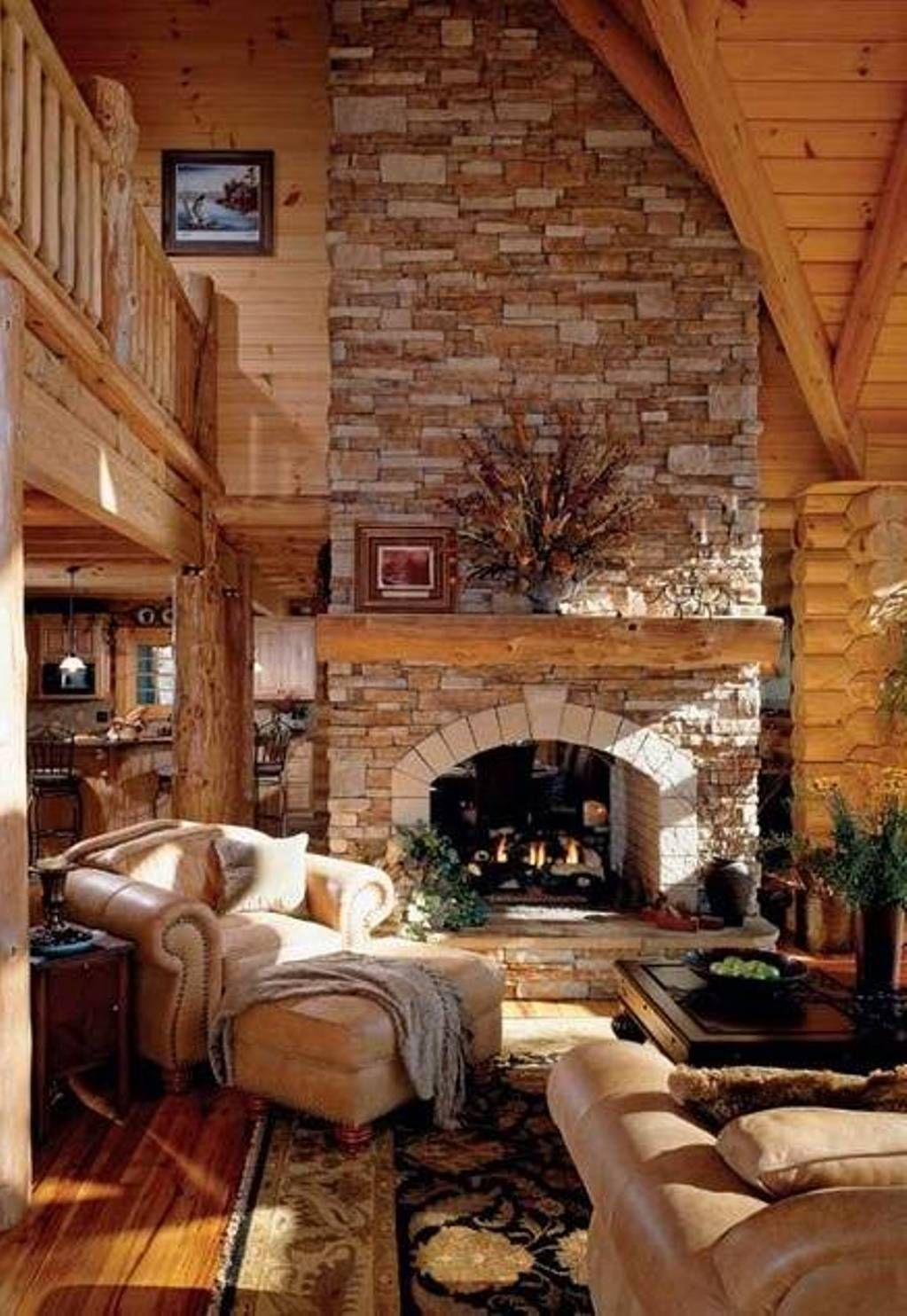 Rustic log home plans natural log home plans better for Log home fireplaces
