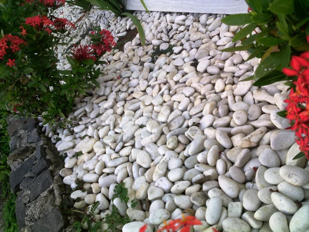 Diy ideas outdoor home garden with white rocks for for Colored landscaping rocks