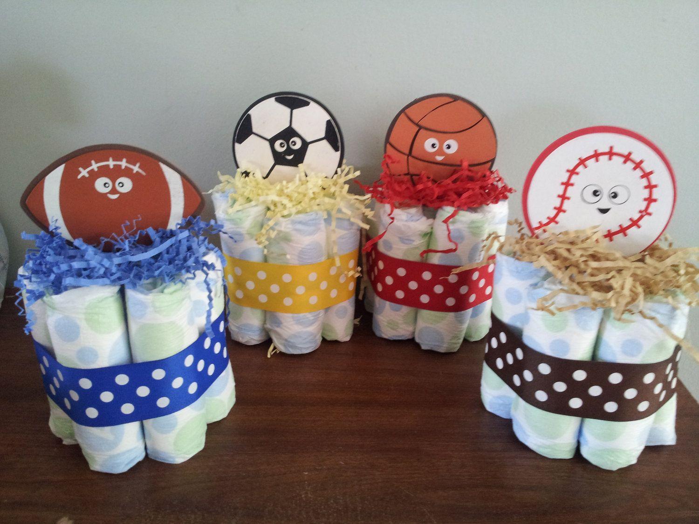 sports theme mini diaper cake baby shower centerpiece mini diaper