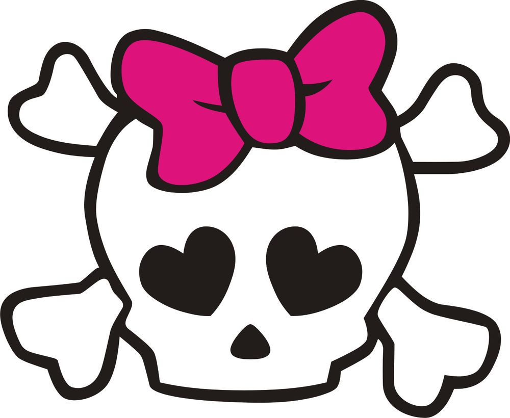 Sticker World Design Skull with PINK Bow Car Decal