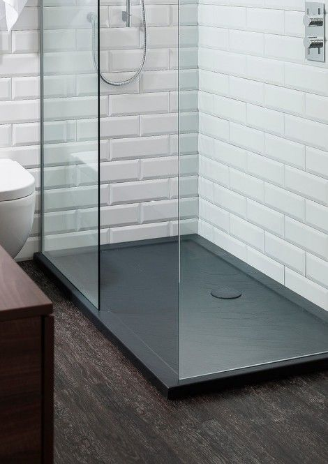 This Is Cool A Dark Tray Pan And White Tiles Slate Shower Bathroom Sale Shower Tray