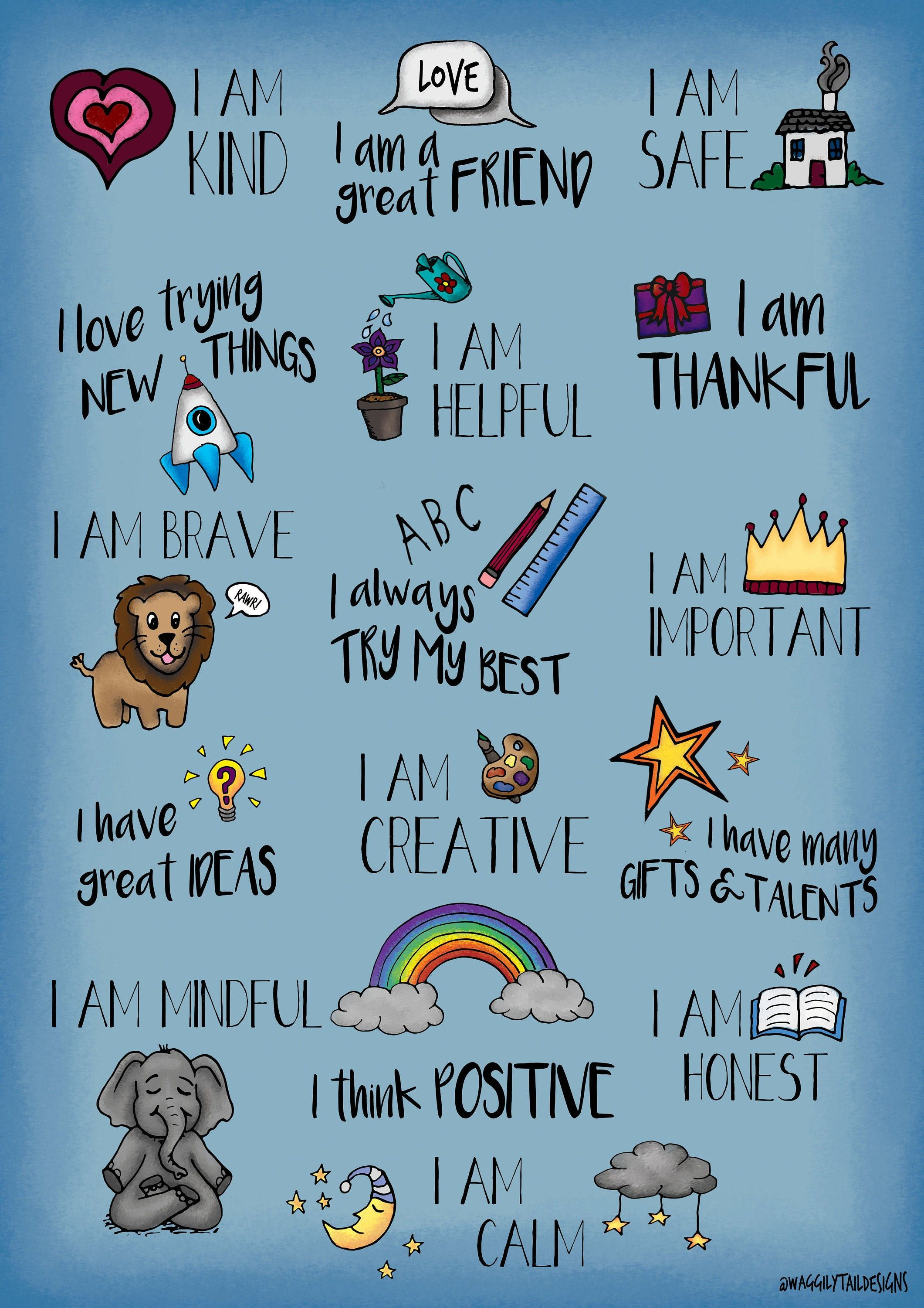 Children S Positive Affirmations Poster With Images