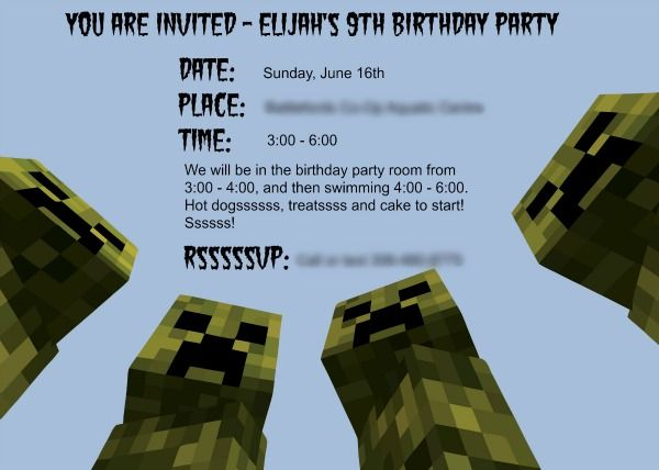 Minecraft Birthday Party Minecraft birthday invitations Free