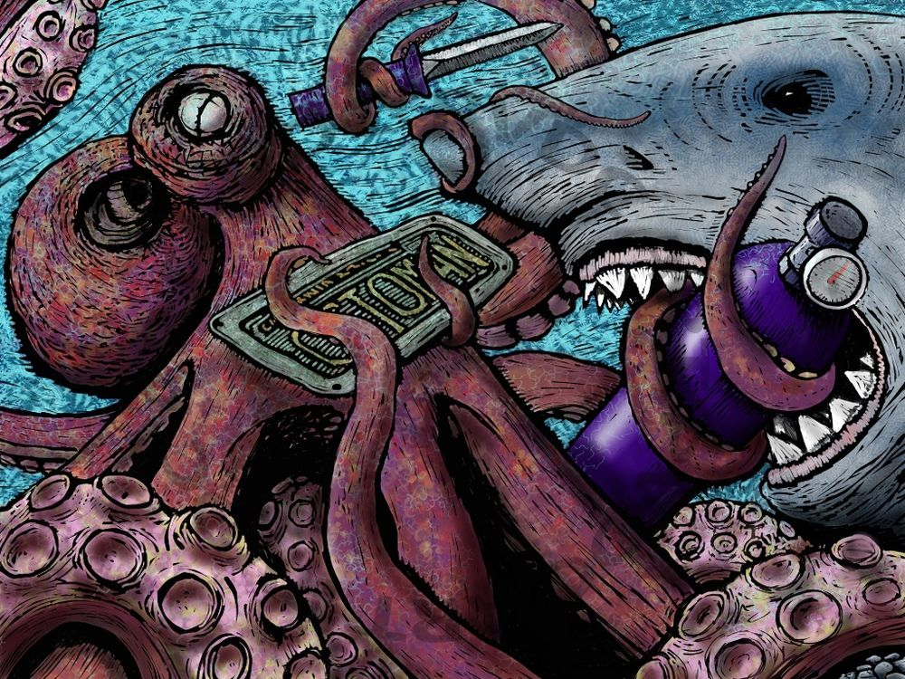 giant pacific octopus vs great white shark octoman art