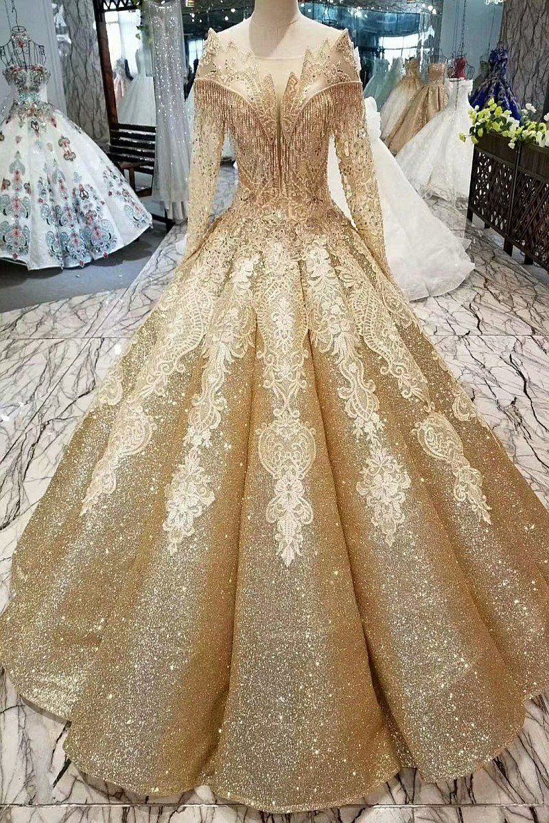 Gold Off The Shoulder Long Sleeve Wedding Dress Ball Gowns Quinceanera Dresses Gowns